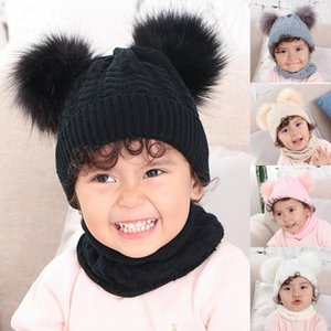 Kids Baby Solid Winter Warm Thread Knit Wrap Double Hair Ball Head Cap Scarf Hat Suit