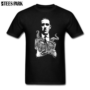 Wholesale Lovecraft Cthulhu Lovecraftian Horror Mens Black T Shirt Youth O-Neck Short Sleeve Hallow Fashion T-Shirt