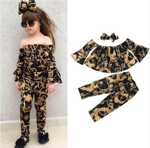 2019 Fashion Kids Girl Clothes Off shoulder Flare Long Sleeve Tops Long Pant Headband 3PCS Floral Baby Girls Clothing Set 1-5Y