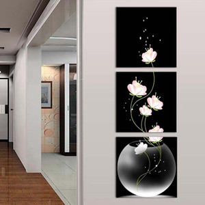 3PCS Unframed Vase with Flowers Canvas Material Porch Corridor Frameless Vertical Version Home Decor Wall Painting Modern Art Picture Decor