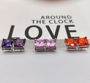 White Gold Filled Square purple orange light Zircon Earrings Wedding Engagement Jewelry Women birthday stone diamond Earring Brinco Brincos