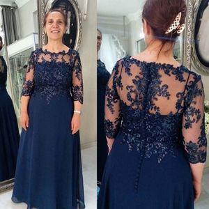Exquisite Spitzen Chiffon Top Plus Size Mutter Kleider Jewel 3 4 Hülsen A-Linie Mutter der Braut Kleider