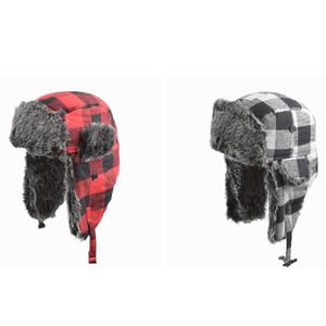 Kış Trapper Bombacı Şapka Sıcak Trooper Kar Cap Vintage Ekose Bisiklet Şapka Açık Windproof Earmuffs Kayak Cap ZZA812