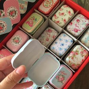 Cajas PLASTICO 광장 주석 상자 뷰티 꽃 메이크업 화장품 주최자 12Piece / 많은 작은 금속 차 동전 환약 상자 선물 상자 T190929