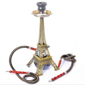 15.7inches Tower Shaped Acrylic Metal Double Hose Glass Water Tobacco Pipes Smoking shisha Cigarette Filter Arabian Hookah Set
