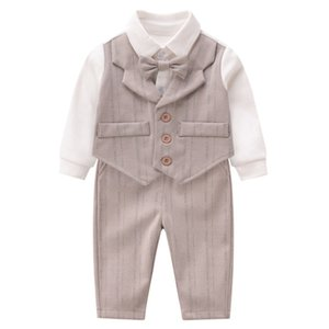 Fall new Infant kids outfits boys Bows tie waistcoat fake two piece jumpsuits jumpsuits+casual pants baby 1st birthday party clothes F9302