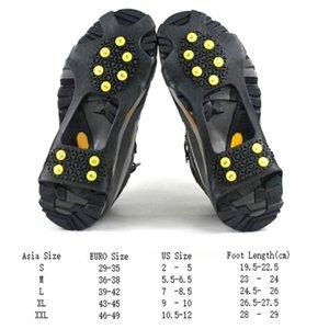 10 스터드 미끄럼 방지 눈 얼음 등반 신발 스파이크 그립 스테이플 클리트 Overshoes가 신발 쇠 갈고리
