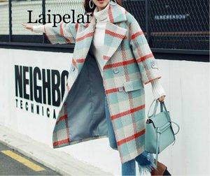 Laipelar Abrigo de manga larga a cuadros de solapa suelta de otoño e invierno