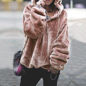 Hoodies Femmes 2020 Femmes Mode capuche Zipper manches longues Sweat-shirt Réchauffez solide dames Manteaux et vestes d'hiver vêtements féminins