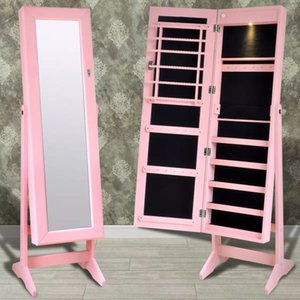 Розовое Зеркало Тумба с ювелирными изделиями держателя с LED Light Living Room Мебелью