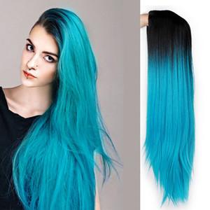 Ombre Синего Зеленый Straight Длинные синтетические парики для женщин черного розовых париков 24 дюймов может быть Косплей парики Термостойкими