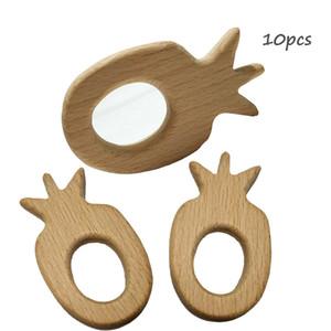10 pz Legno Ananas Forma Massaggiagengive Natura Baby Sonaglio Dentizione Afferrare Giocattolo FAI DA TE Eco-friendly Legno Dentizione Accessori