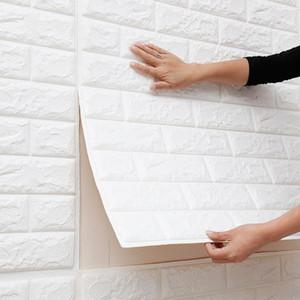 Sfondo fai da te Auto Adhensive 3D Brick Wall Stickers Living Room Decor Schiuma impermeabile Rivestimento pareti Carta da parati per la TV in camera bambini