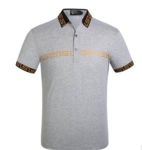 2019 nova designer de moda da marca Versace Medusa bordado roupas masculinas de tecido polo t-shirt gola lapela gola casual T-shirt top