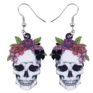 Akrilik Cadılar Bayramı Kadınlar Kızlar Bayanlar Genç Parti İçin Çiçek Kafatası Küpe Dangle Bırak Big Uzun Yenilik Punk Mücevher Gülümseme