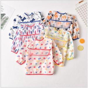 New umbrella children's waterproof bib long sleeve baby waterproof smock baby polyester Taft full body waterproof meal jacket