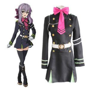 Seraph of the End Hiiragi Shinoa pelucas cosplay disfraces de cosplay Uniformes Policía Vestido de niñas + correa + correa + correa + accesorio para el cabello