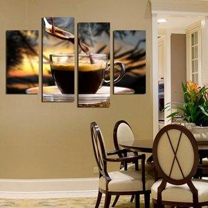 Venta caliente Oferta Especial 4 Paneles Coffe E Impresión de Fondo en Wall Art Modular Pictures Cocina Decoración Del Hogar Sin Marco Pintura