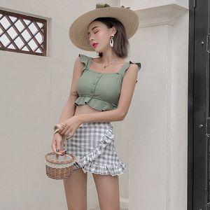 женский ins Super fairy split skirt type belly-covering тонкий студенческий купальник бикини консервативный купальник бикини горячей весны
