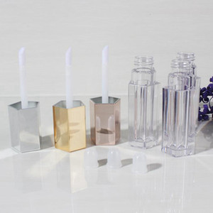 5ml Empty Lip Gloss Five Angle Lip Gloss Tube Cosmetic Clear Plastic Tubes Gold Silver Rose Makeup Bottle HHA1355