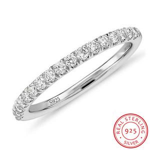 Lucha contra la alergia Sin Fundido original Pure 925 anillos de plata del medio Cubic Zirconia joyería de la boda anillos de compromiso para las mujeres al por mayor de XR002