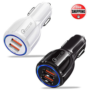 em estoque Quick Charge 3.0 carregador de carro para Celular Dual USB Car Charger Qualcomm Qc 3.0 carregamento rápido Adaptador Mini USB Car Charger