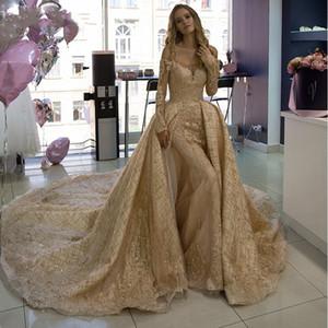 럭셔리 샴페인 두바이 WeddingDresses 긴 소매 보트 넥 반짝이 얇은 명주 그물 레이스 인어 신부 드레스 맞춤 제작 로브 드 야회