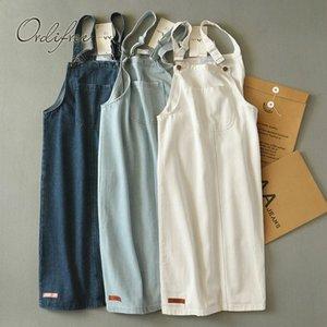 Ordifree 2019 sommer herbst frauen denim dress sommerkleid casual jeans dress overalls strap baumwolle weiß weibliche denim dress t5190615