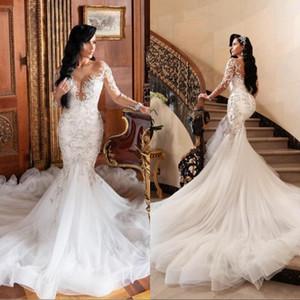 2020 Sirène Robes de Mariée Illusion manches longues robe de dentelle noiva Slim de Robes appliques de mariage formel Plus Size