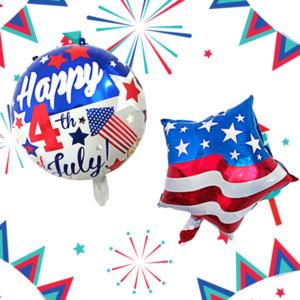 18 inç Yıldız Yuvarlak Folyo Balon Bağımsızlık Günü Şerit Bayrak Alüminyum Folyo Balon Mektup Numarası Balonlar Düğün Parti Dekorasyon VT0248