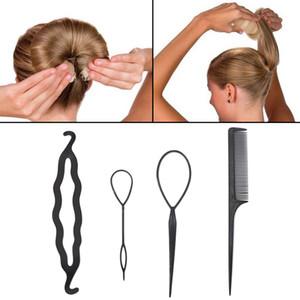 4 teile / satz Mädchen Haargeflecht Werkzeug 6 Farbe Haar Zubehör Twist Styling Clip Stick Bun Maker Kamm Haar Pin Stick