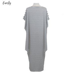 Women Loose Long Striped Dress Batwing Sleeve One Shoulder Split Asymmetric Oversized Dress Casual 5Xl Plus Size Dress