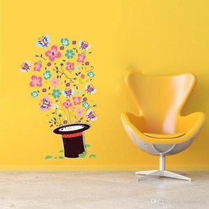Bahar ev dekor duvar çıkartmaları Çocuk Odası Dekor Sticker için Karikatür Sihirli Şapka Kelebek duvar kağıtları dekoratif duvar Çıkartmaları