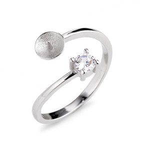 Estilo clásico elegante de la perla Anillo montajes 925 de Plata Prongs corte redondo blanco claro circón 5 Piezas