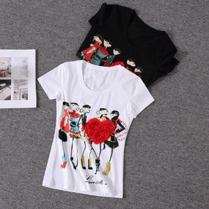 Frauen Strass Tops Appliques rote Herz-T-Shirt Frauen weibliche kurze Hülsen-Druck poleras De Mujer Camisas Femininas