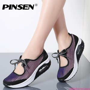 PINSEN 2019 Flat Platform Sneakers Women Summer Breathable Mesh Casual Shoes Woman Creepers Moccasins Fashion Flats Women