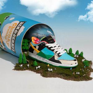 Молоко Мороженого Бен Джерри SB Low Dunk Pro QS замочить серии низкого верх классические диких случайных спортивных туфли цилиндрические коробки обуви «Коренастый Dunky»