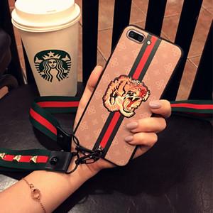 Großhandel frauen designer telefon fällen für iphone xs max xr x xs 7 8 6 plus europäischen stil tiger biene rose butterfly tier abdeckung mit seil