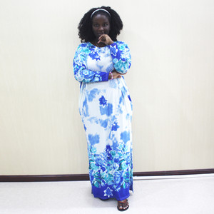 Fashion African Clothing African Dashiki Blue Print Long Sleeve Casual Dresses For Women