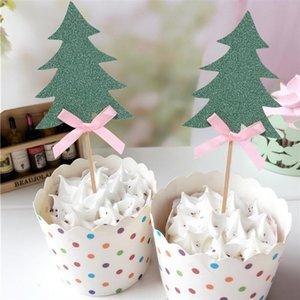 10 ADET Cupcake Topper Dekoratif Noel Ağaçları Parti Dekorasyon için Cupcake Alır Ilmek