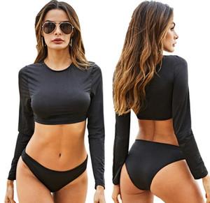 Kadınlar mayo yüzme uzun kollu mayo 2 adet suit kadın bikini toptan satıcı boyutu Sml XL D131