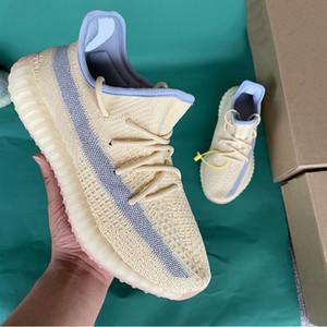 Box 2020 Üst Kalite Kanye West Bay Bayan Ayakkabı Koşu Zebra cüruf Kuyruk Işık Yansıtıcı İsrafil Asriel'den Keten Eğitmenler spor ayakkabısı