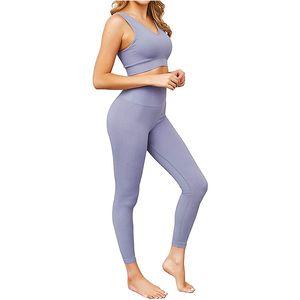 Jetjoy Kadınlar 2 ADET Egzersiz Seti Sorunsuz Süper Yumuşak Derin V Yaka Sütyen + Tozluklar Seti Yoga Kıyafetler Spor Giyim