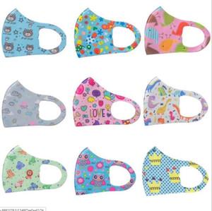 imprimir Máscaras miúdo rosto de grife máscara Máscaras dos desenhos animados da cara Boca crianças anti-poeira respirável Earloop lavável reutilizável lavável máscara de seda
