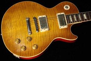 1959 Schmutzige Zitrone Finish Standard-Gitarre; 1PC Mahagoni-Korpus und Hals, mit 2er-Set solid Flamme Ahorn Decke, harter Fall enthielt