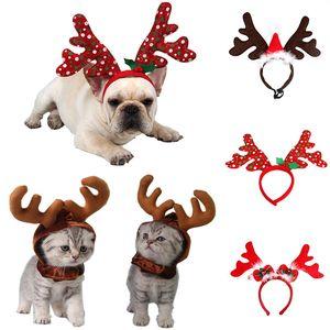 Pet Dog Pet Reindeer fascia Decorazioni di Natale cucciolo Natale cappello cucciolo accessori del costume del DHL nave 5 stili WX9-1640