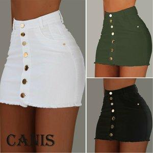 2019 Summer Women Short Solid Button Skirts High Waist Slim Clothes For Female Causal Women Pencil Skirt