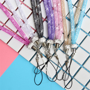 Luxury Bling Glitter Phone Lanyard Straps Fashion Jewelry Shiny Crysta Cell Phone Charms Colorful Long Neck ID Cards Mobile Bag Rope Chain