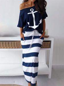 2019 verano más elegante de vacaciones de ocio juegos de dos piezas de juego de las señoras del ancla del barco Juegos de impresión camiseta de rayas de la falda maxi
