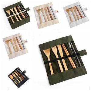 Holz Geschirr Set Geschirr Stäbchen Löffel-Messer-Gabel Straw Pinsel empfangen Beutel 7 Stück Set Werkzeuge Sicher Besteck-Sets WY309Q Kochen